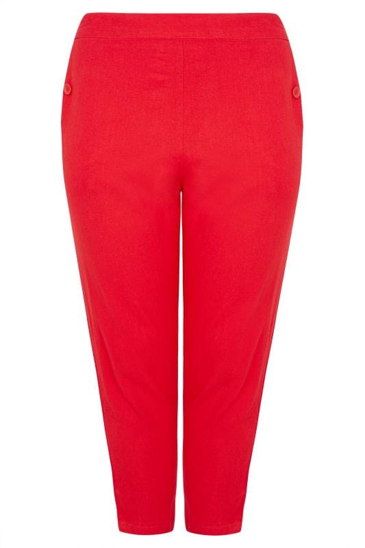 Red Linen Mix Cropped Trousers
