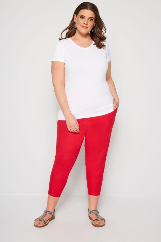 Red Linen Blend Plus Size Capri Pants | Zulily