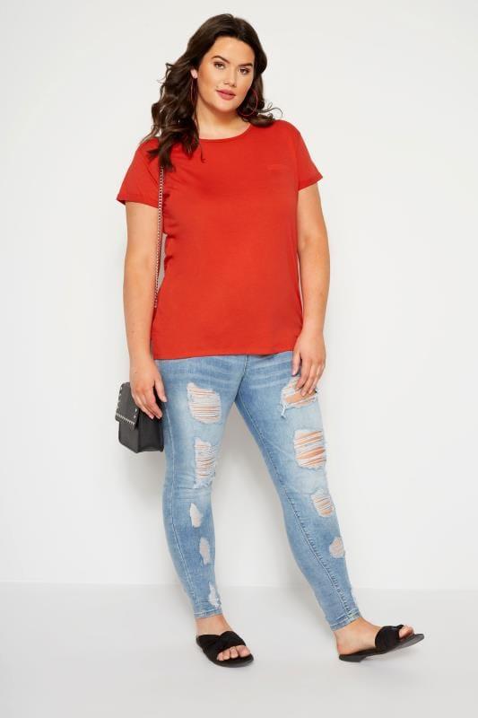 Red Mock Pocket T-Shirt