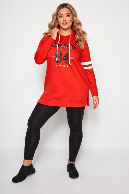 Plus Size Hoodies & Jackets Red 'New York' Slogan Hoodie