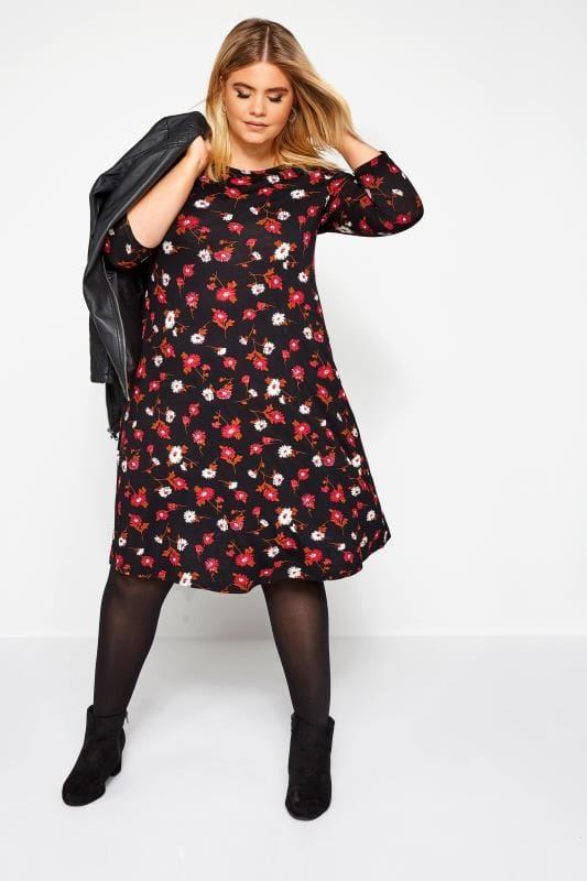Robes Trapèzes Grande Taille Robe Volanté Noire Imprimé Fleurs Rouges & Oranges