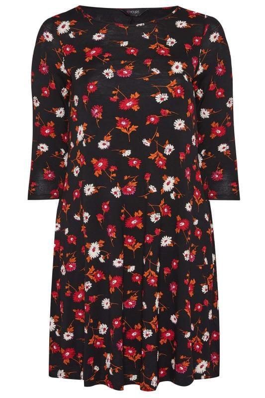 Plus Size Swing Dresses Red & Orange Floral Swing Dress