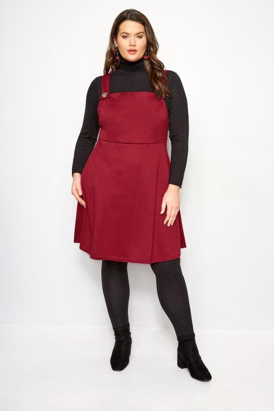 pretty and colorful many fashionable online Red Pinafore Dress, Plus size 16 to 36