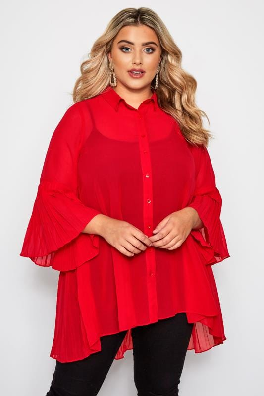 YOURS LONDON Red Pleated Longline Shirt
