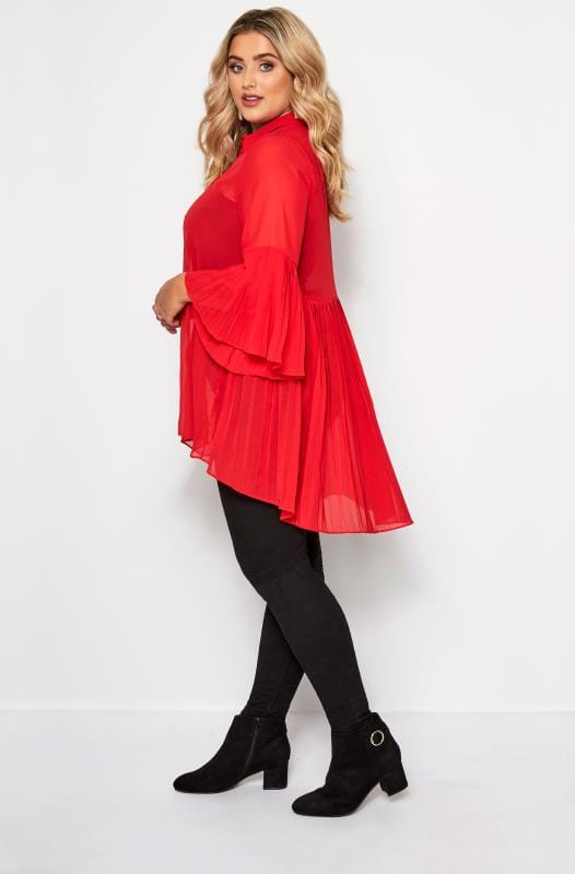 Plus Size Shirts YOURS LONDON Red Pleated Longline Shirt