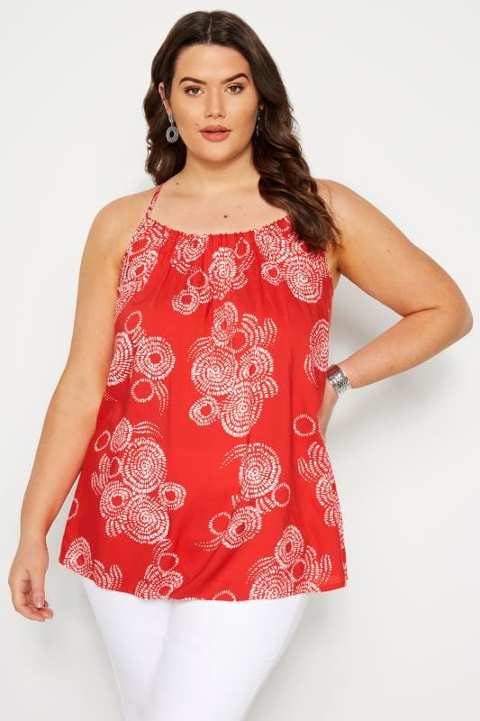 Red Printed Cross Back Vest Top