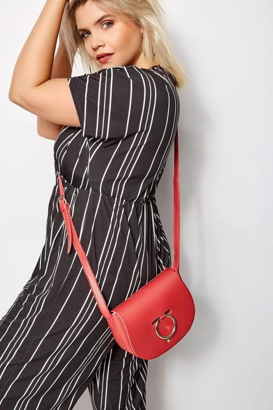 Red Ring Detail Cross Body Bag