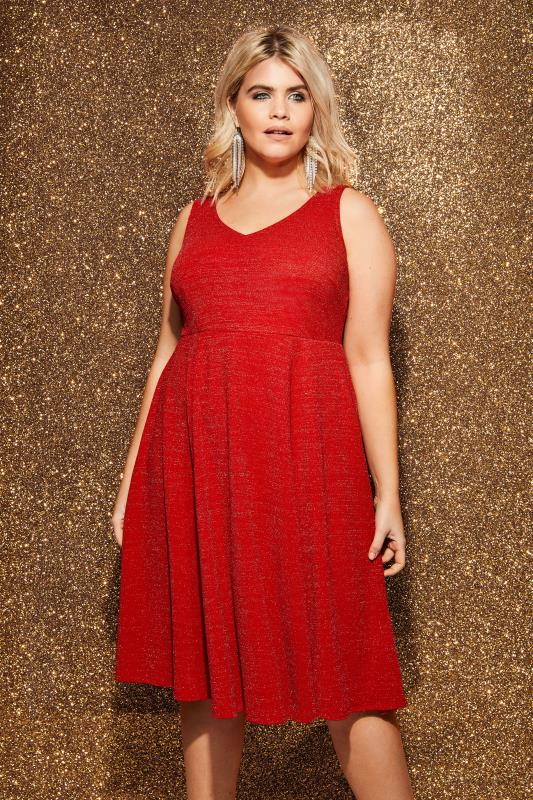 Red Sparkle Skater Dress, plus size 16 to 36