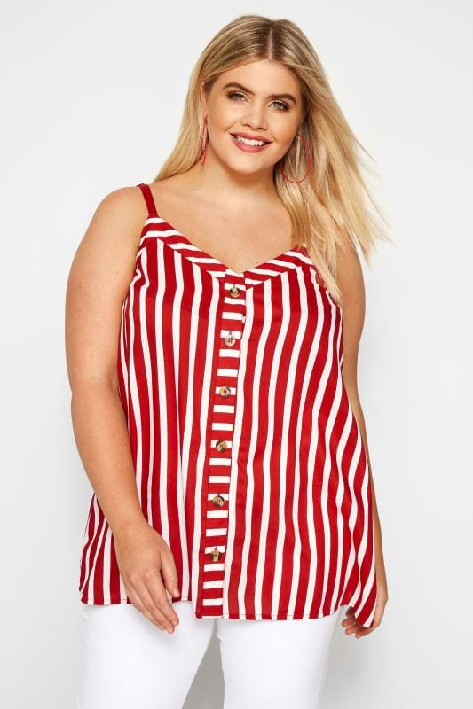 Plus Size Vests & Camis Red Striped Button Front Cami