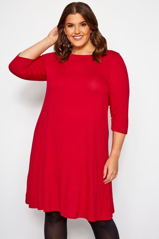 Plus Size Jersey Dresses Red Swing Dress