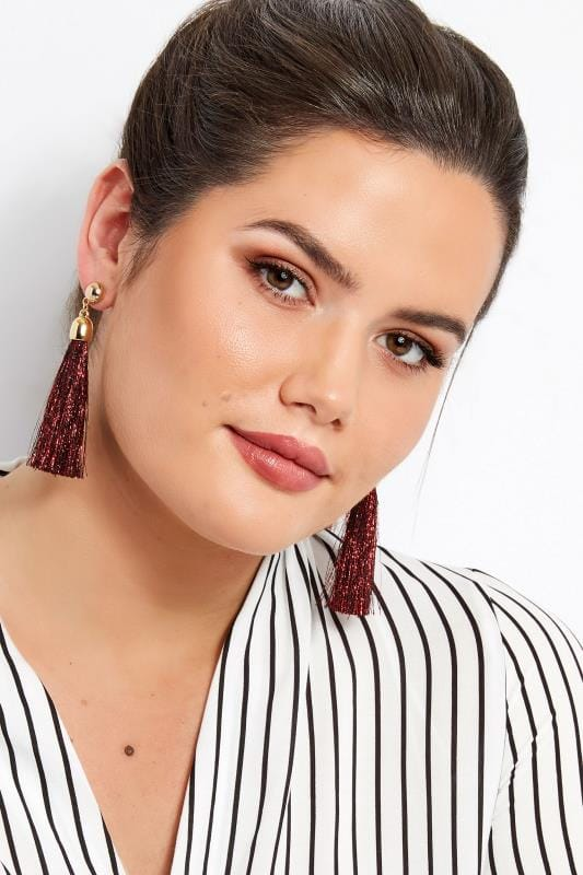 Red Tasselled Earrings