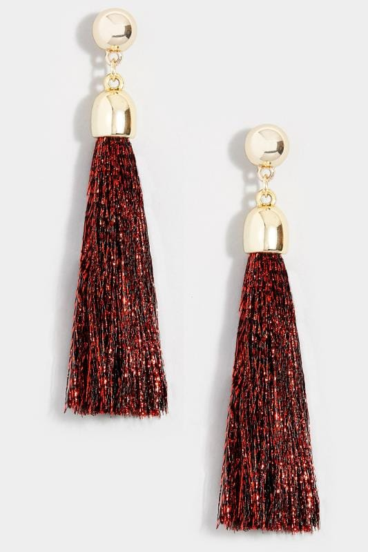Red Tasselled Earrings