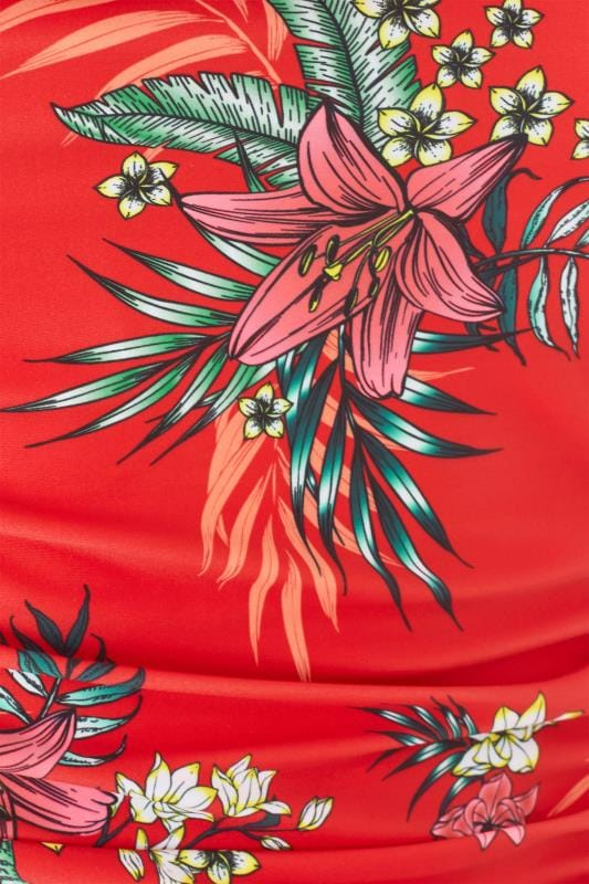 Red Tropical Floral Cold Shoulder Swimsuit