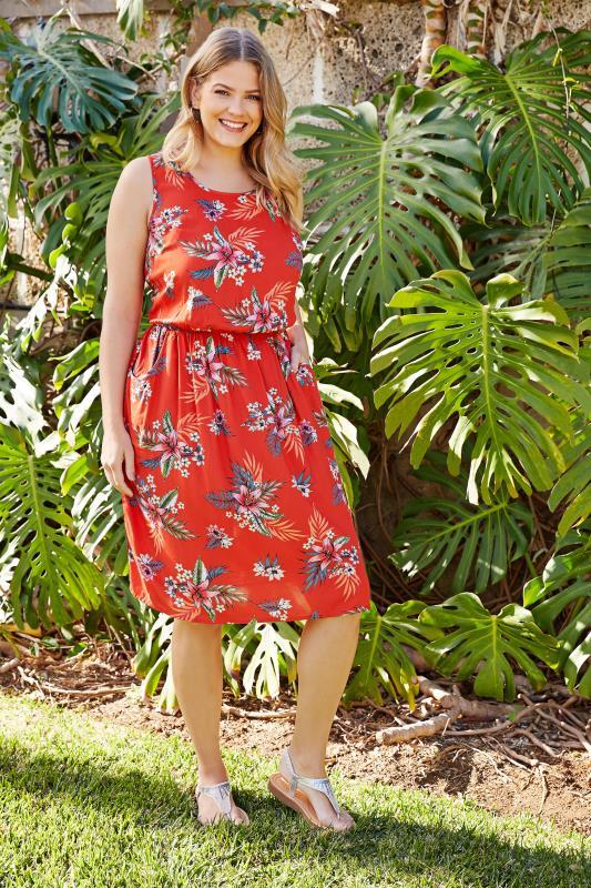 Plus Size Skater Dresses Red Tropical Floral Pocket Skater Dress