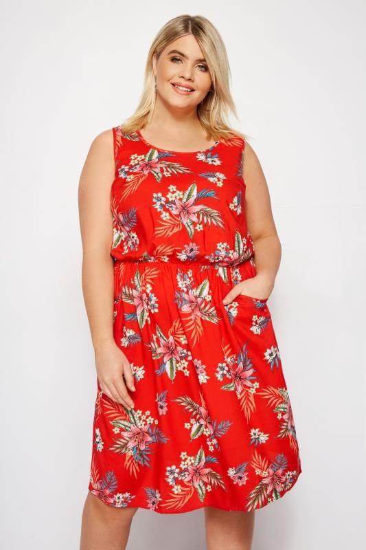 Red Tropical Floral Pocket Skater Dress