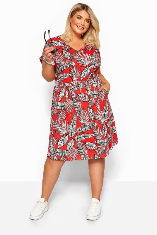 Red Tropical Print T-Shirt Dress