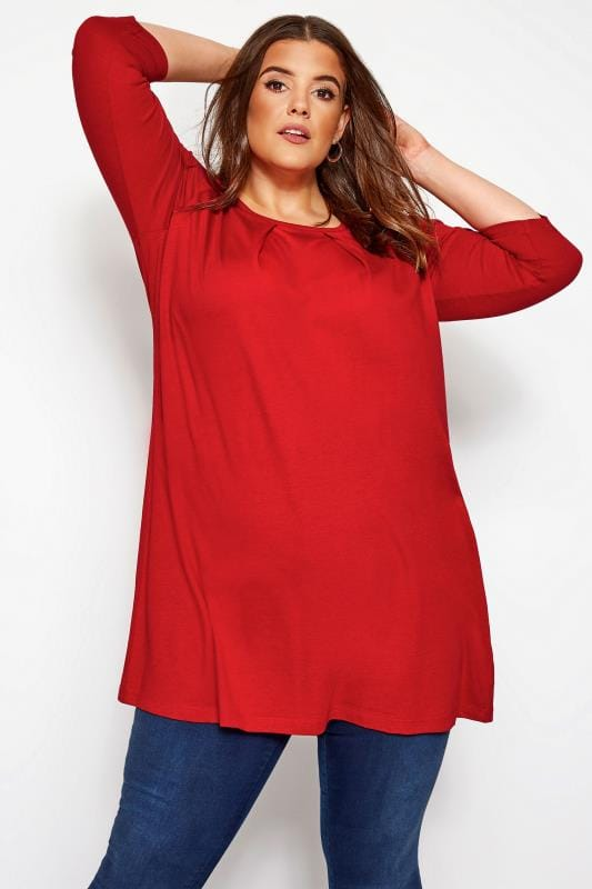 Plus Size Tunics Red Tunic With Pleated Front