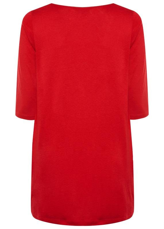 Red Tunic With Pleated Front