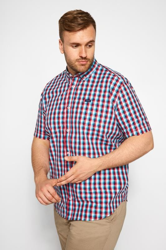 Plus Size Casual Shirts BadRhino Red & Blue Checked Shirt