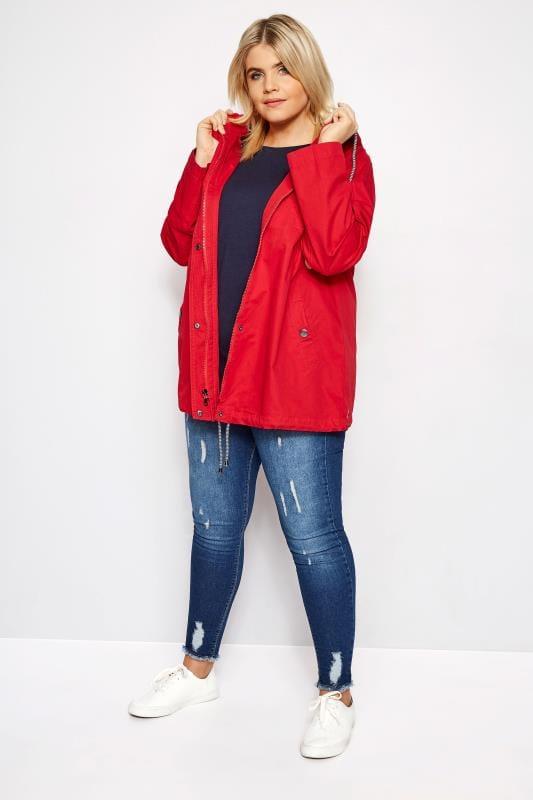 Red Twill Parka Coat