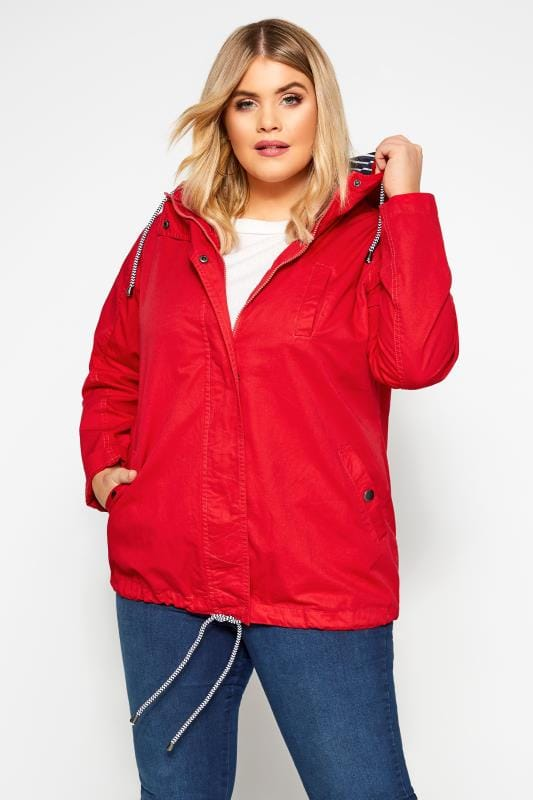 Plus Size Coats Red Twill Parka Coat