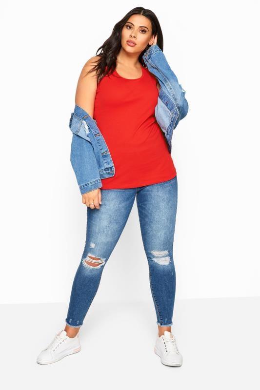 Plus Size Vests & Camis Red Vest Top