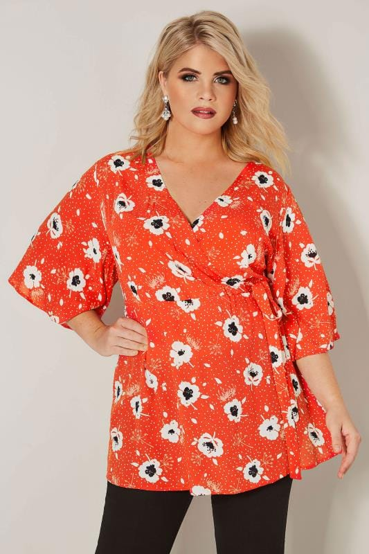 YOURS LONDON Red & White Poppy Wrap Blouse With Kimono Sleeves