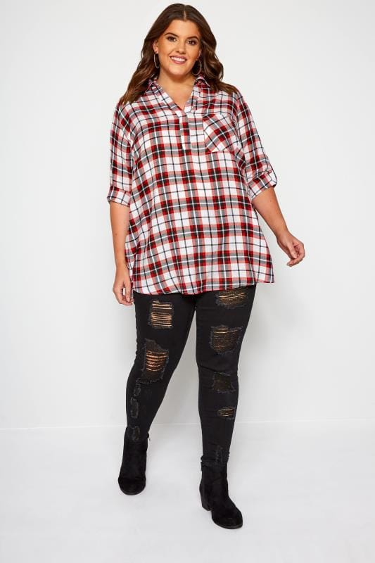 Red & White Overhead Metallic Check Shirt