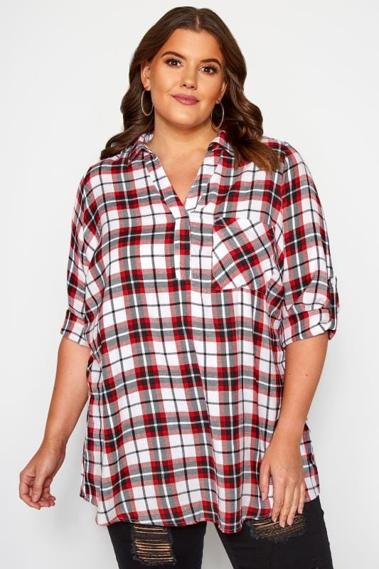 Plus Size Shirts Red & White Overhead Metallic Check Shirt