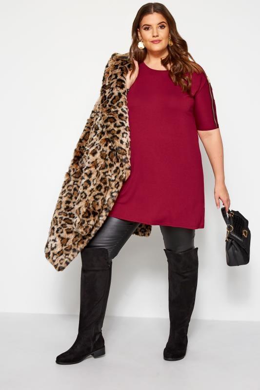 Plus Size Jersey Tops Red Zip Shoulder Top