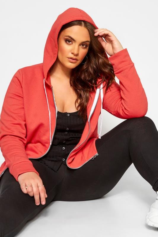 Plus Size Beauty Red Zip Through Hoodie