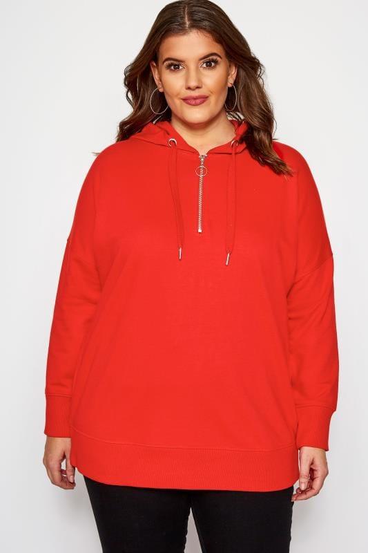Plus Size Hoodies & Jackets Red Zip Up Overhead Hoodie