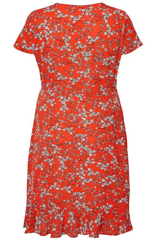 Red Floral Frill Wrap Dress