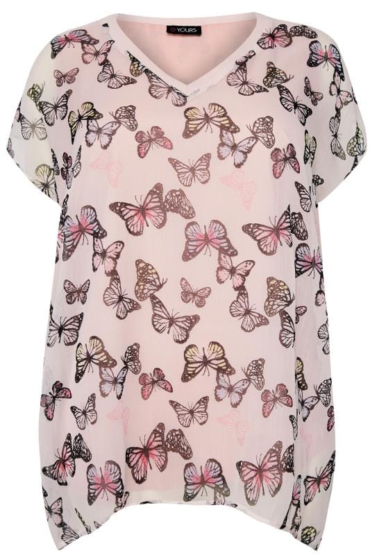 Pink Butterfly Chiffon Cape Top