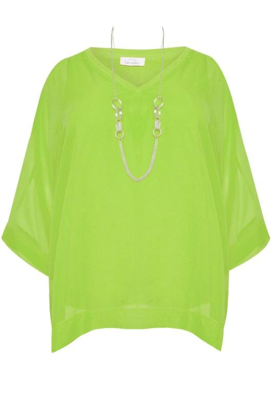 YOURS LONDON Lime Green Chiffon Cape Top
