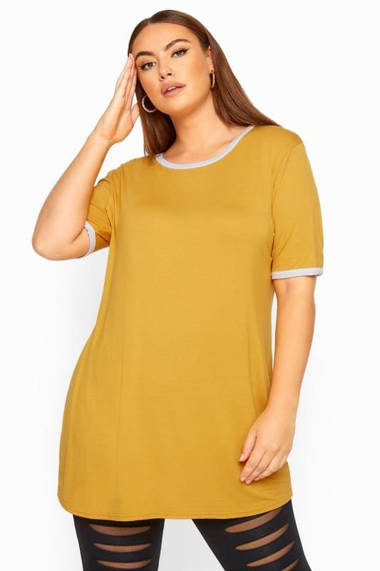 Plus Size Day Tops LIMITED COLLECTION Mustard Yellow Ringer T-Shirt