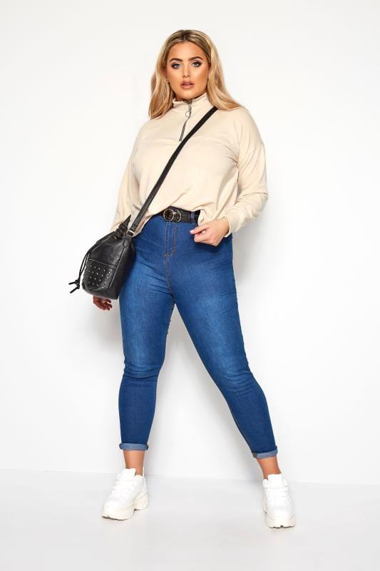 Sweatshirts Grande Taille Top Beige Col Haut Fermeture Éclair