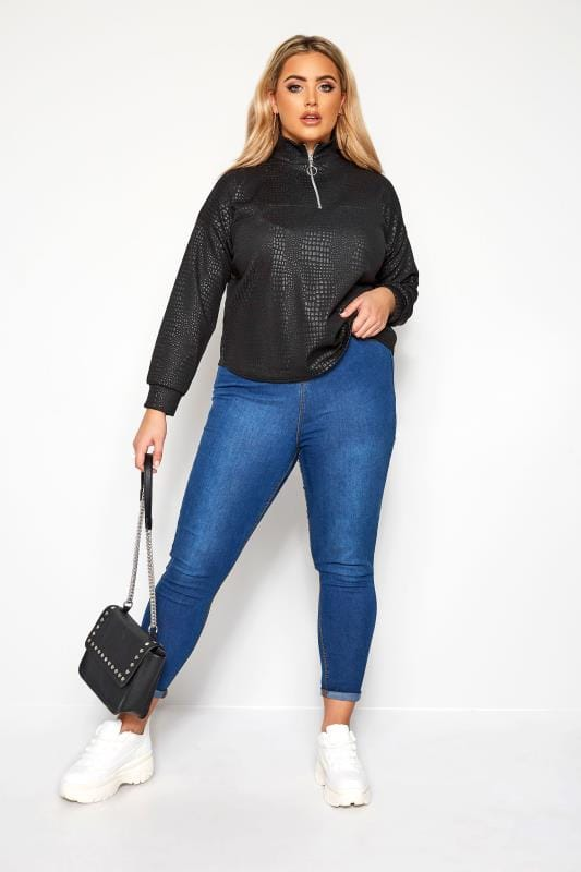 Plus Size Sweatshirts & Hoodies LIMITED COLLECTION Black Textured Snake Zip Top