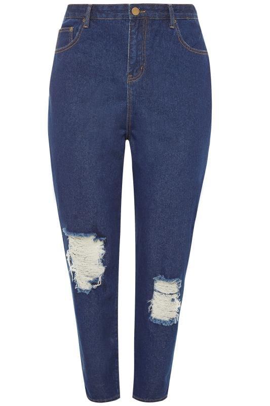 boyfriend jeans Dark Blue Ripped Boyfriend Jeans