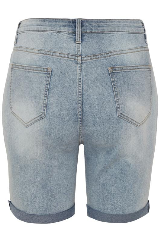 LIMITED COLLECTION Bleach Blue Distressed Denim Shorts