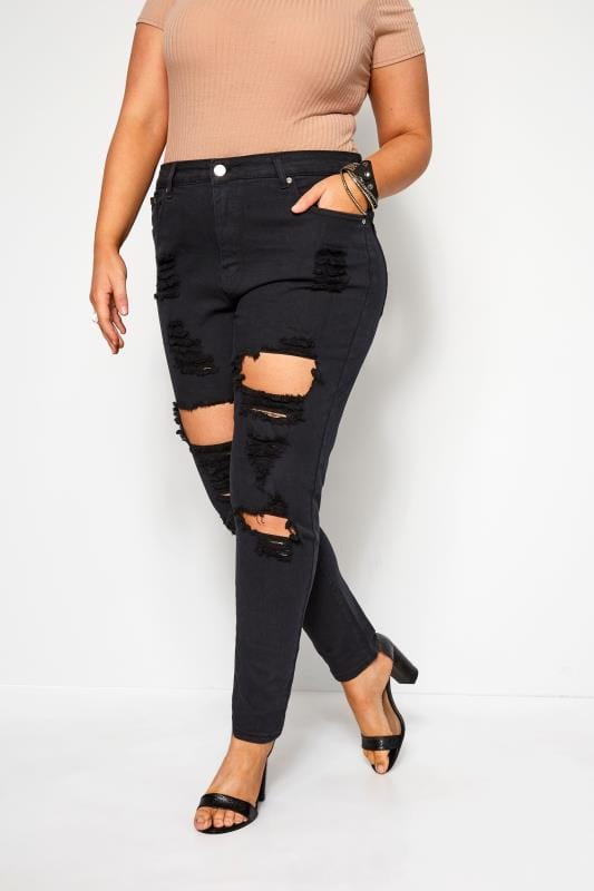 Skinny Jeans Grande Taille Black Distressed Ripped Skinny Jeans