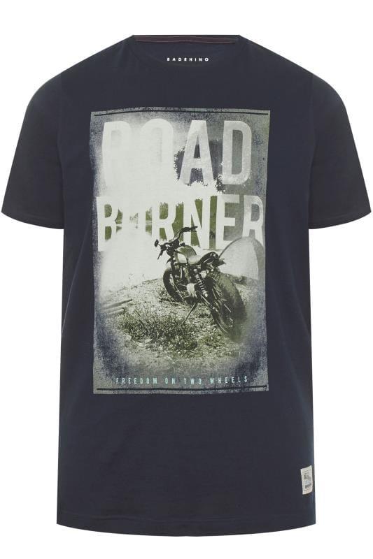 Plus Size T-Shirts BadRhino Navy 'Road Burner' Graphic T-Shirt