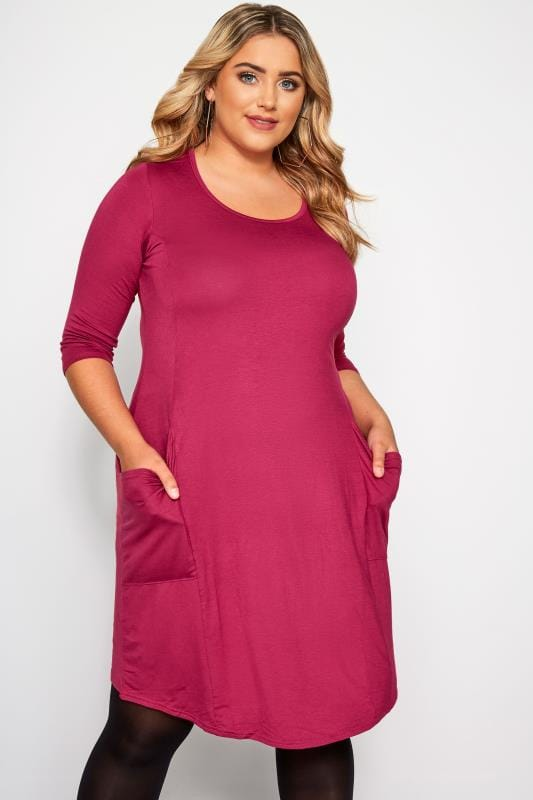 Plus Size Swing Dresses Rose Drape Pocket Dress