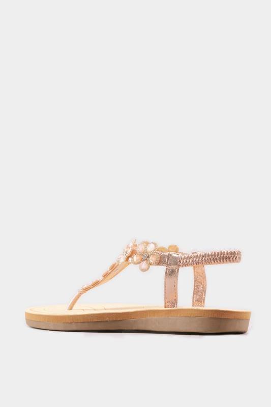 Sandale mit Blüten - Roségold