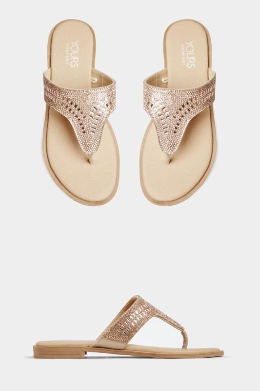 Wide Fit Sandals Rose Gold Diamante Sandals In Extra Wide Fit