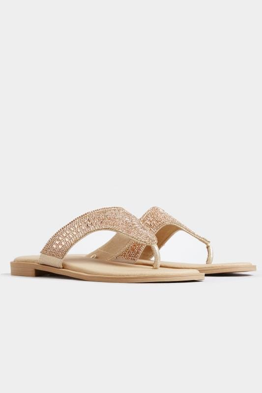 Rose Gold Diamante Sandals In Extra Wide Fit