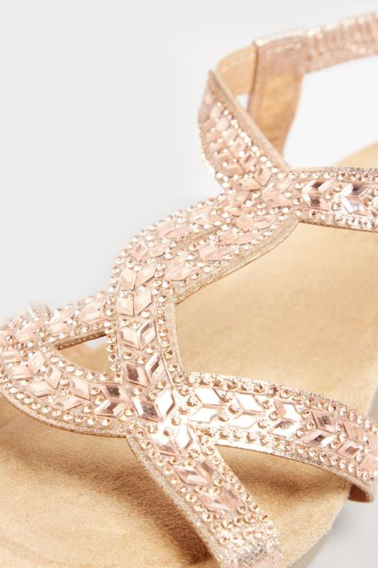 Rose Gold Diamante Twist Wedge Sandals In Extra Wide Fit