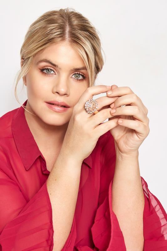 Rose Gold Flower Diamante Ring