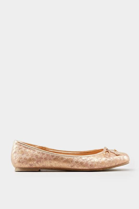 Rose Gold Textured Ballerina Pumps In Extra Wide Fit