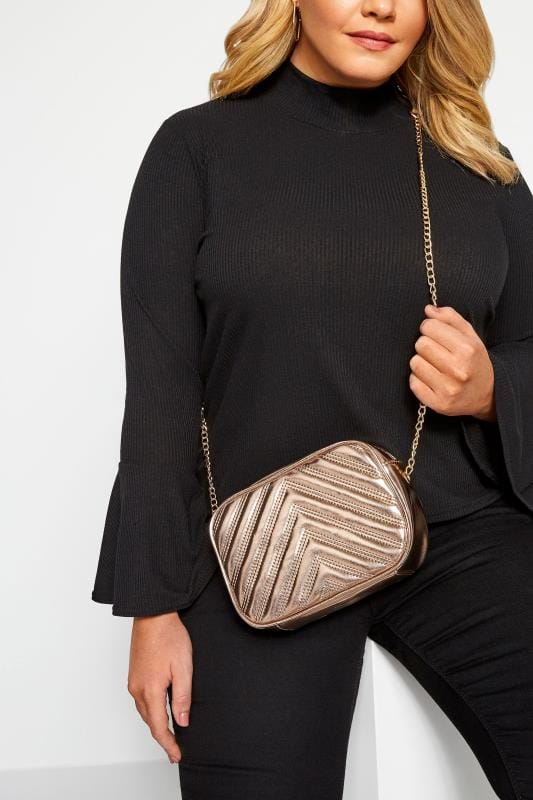 Cross Body Bags Rose Gold Patent Chevron Cross Body Bag